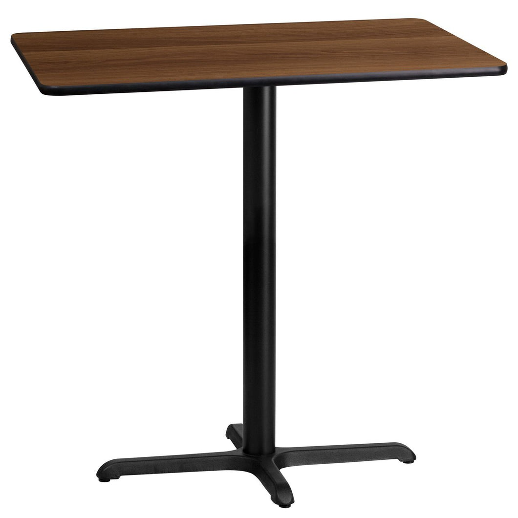 24'' x 42'' Rectangular Walnut Laminate Table Top with 22'' x 30'' Bar Height Table Base