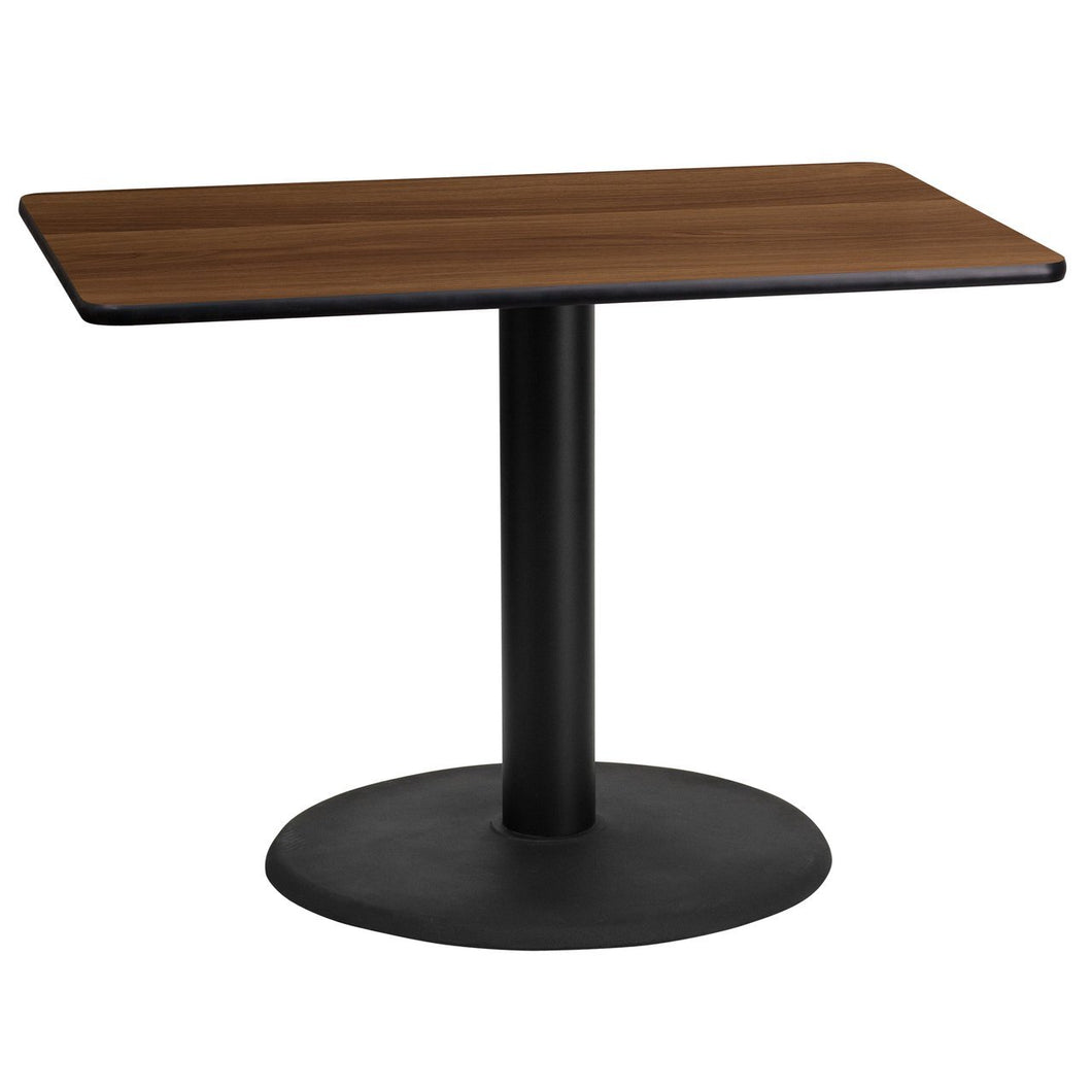 24'' x 42'' Rectangular Walnut Laminate Table Top with 24'' Round Table Height Base