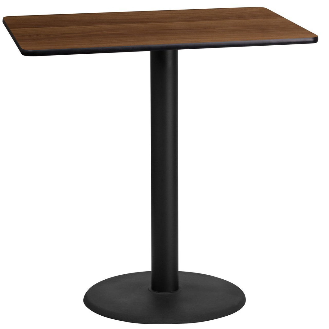 24'' x 42'' Rectangular Walnut Laminate Table Top with 24'' Round Bar Height Table Base