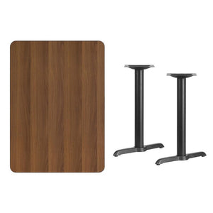 30'' x 42'' Rectangular Walnut Laminate Table Top with 5'' x 22'' Table Height Bases