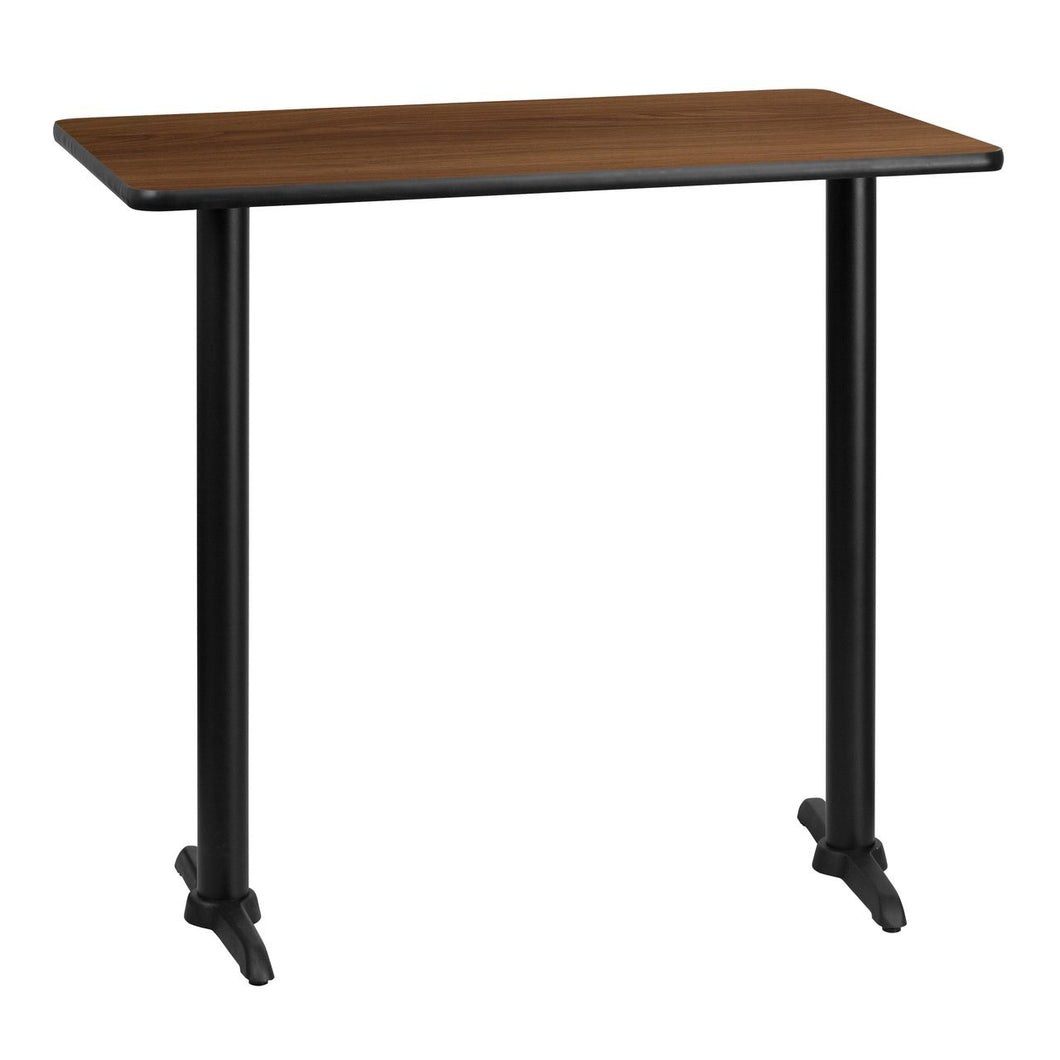 30'' x 42'' Rectangular Walnut Laminate Table Top with 5'' x 22'' Bar Height Table Bases