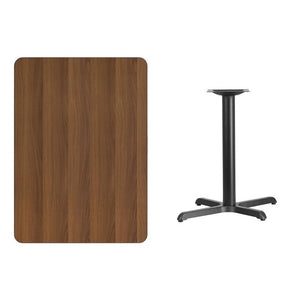 30'' x 42'' Rectangular Walnut Laminate Table Top with 22'' x 30'' Table Height Base