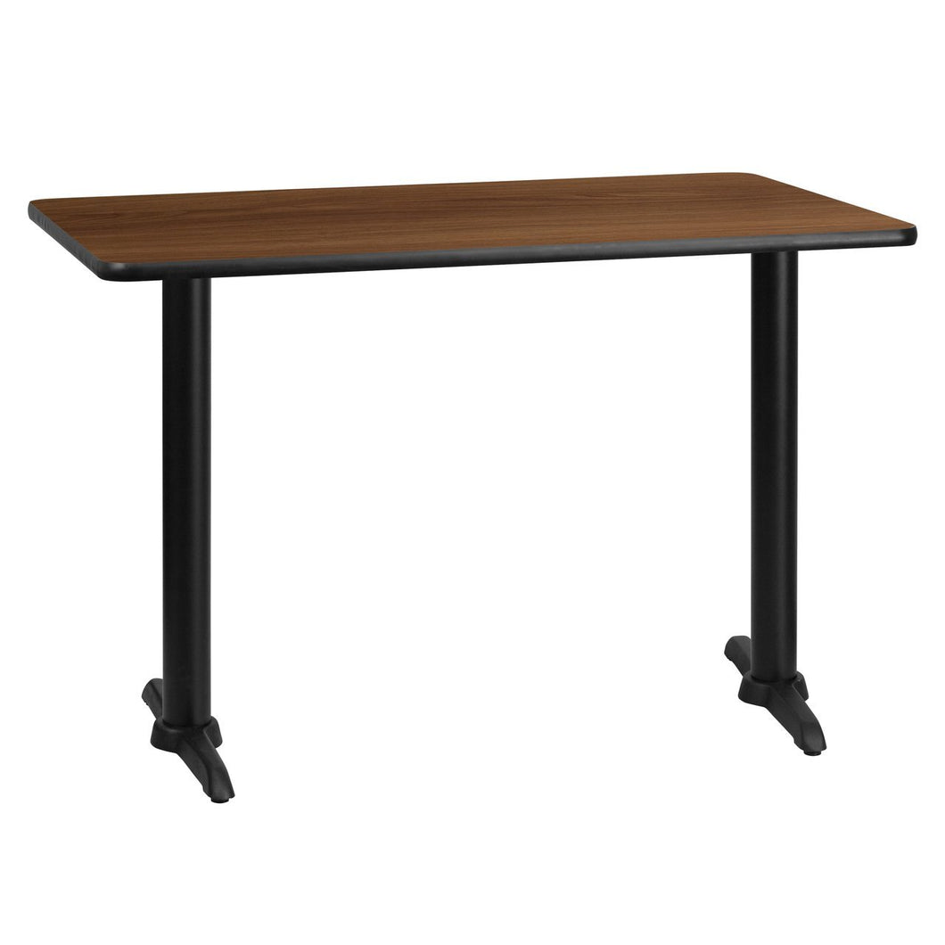 30'' x 45'' Rectangular Walnut Laminate Table Top with 5'' x 22'' Table Height Bases