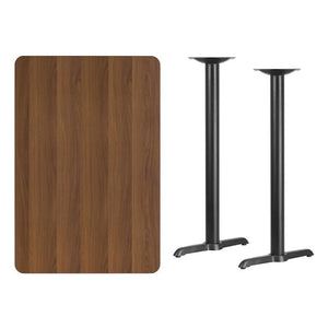 30'' x 45'' Rectangular Walnut Laminate Table Top with 5'' x 22'' Bar Height Table Bases