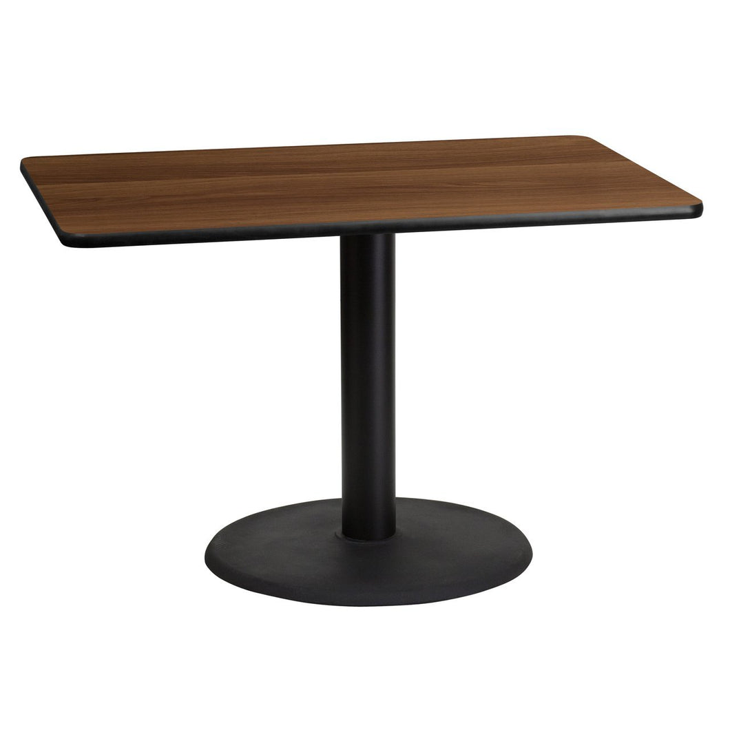 30'' x 45'' Rectangular Walnut Laminate Table Top with 24'' Round Table Height Base