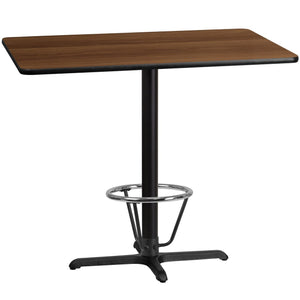 30'' x 48'' Rectangular Walnut Laminate Table Top with 22'' x 30'' Bar Height Table Base and Foot Ring