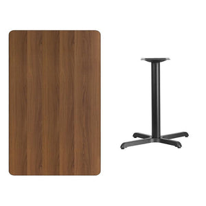 30'' x 48'' Rectangular Walnut Laminate Table Top with 22'' x 30'' Bar Height Table Base