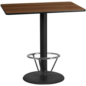 30'' x 48'' Rectangular Walnut Laminate Table Top with 24'' Round Bar Height Table Base and Foot Ring