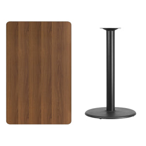 30'' x 48'' Rectangular Walnut Laminate Table Top with 24'' Round Bar Height Table Base