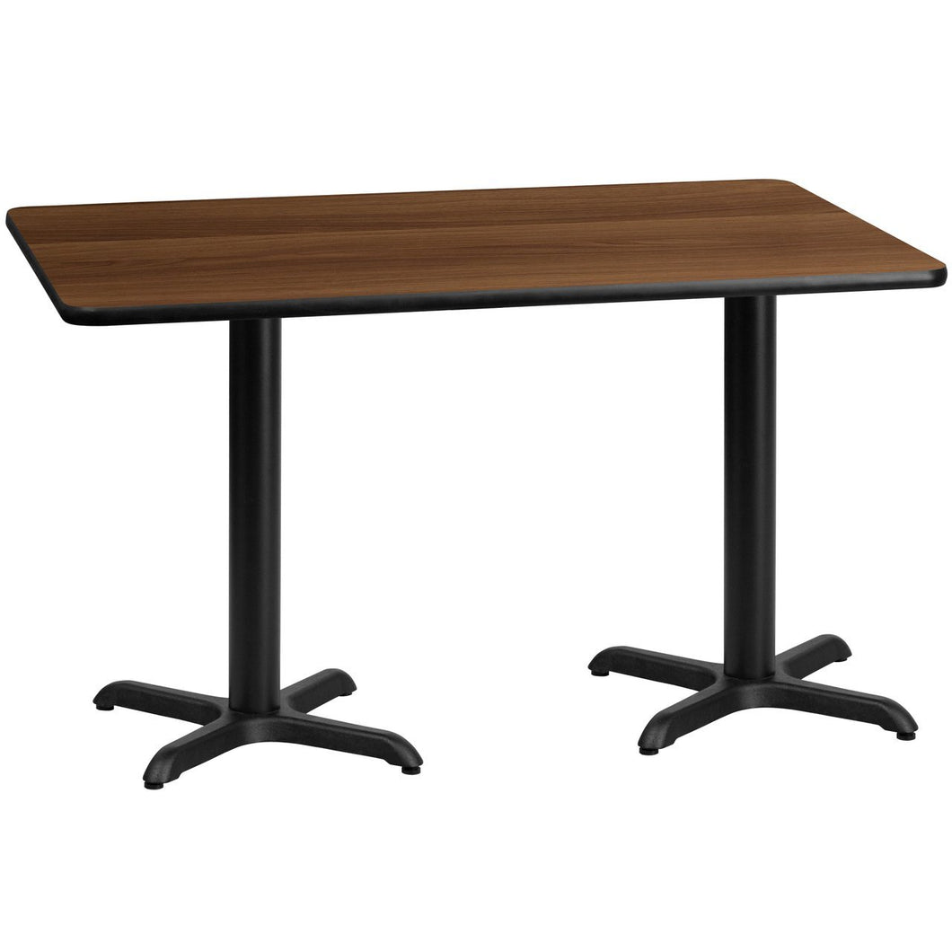 30'' x 60'' Rectangular Walnut Laminate Table Top with 22'' x 22'' Table Height Bases