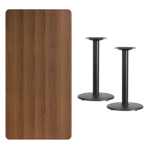 30'' x 60'' Rectangular Walnut Laminate Table Top with 18'' Round Table Height Bases