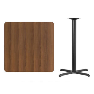 36'' Square Walnut Laminate Table Top with 30'' x 30'' Bar Height Table Base