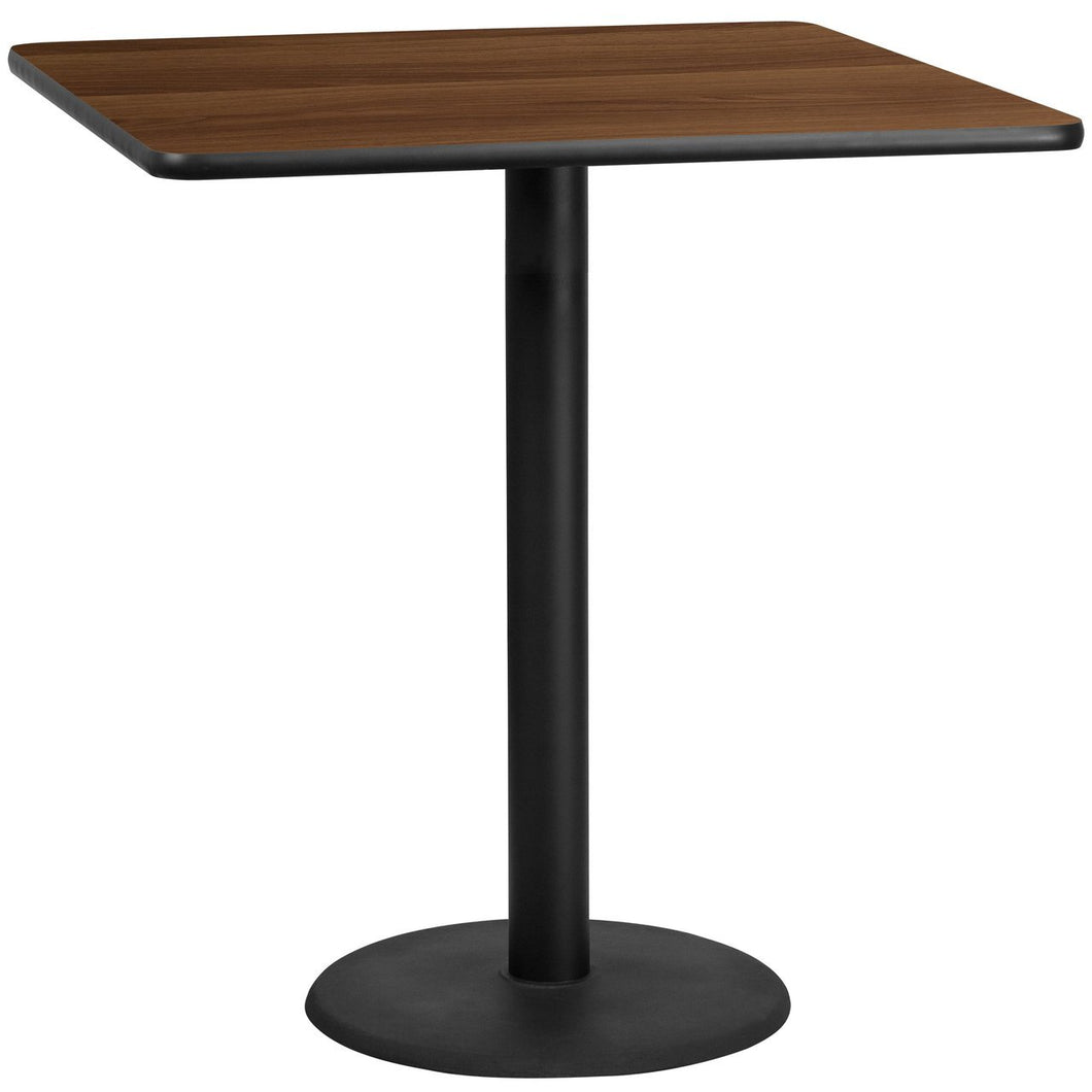 42'' Square Walnut Laminate Table Top with 24'' Round Bar Height Table Base
