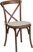 Load image into Gallery viewer, HERCULES Series Stackable Pecan Wood Cross Back Chair with Cushion