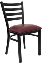 Load image into Gallery viewer, Hercules Series Black Ladder Back Metal Restaurant Chair with Burgundy Vinyl Seat