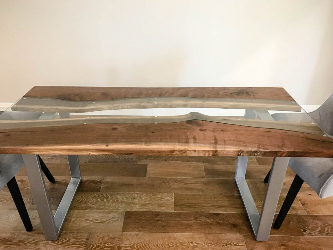 Merveilleux Walnut River Glass Dining Table