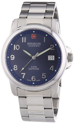 Swiss Military Hanowa Men's 06-5231-04-003 Silver Stainless-Steel Swiss Quartz Watch with Blue Dial
