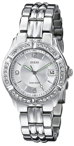 GUESS Women's Stainless Steel Crystal Accented Watch, Color: Silver-Tone (Model: G75511M)