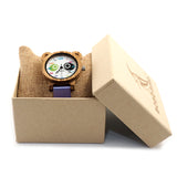 BOBO BIRD Zebrad Wood Watch for Girls PU leather Strap