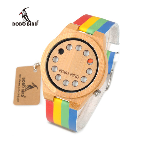 BOBO BIRD WA01 Bamboo Wooden Watch Colorful Leather Band