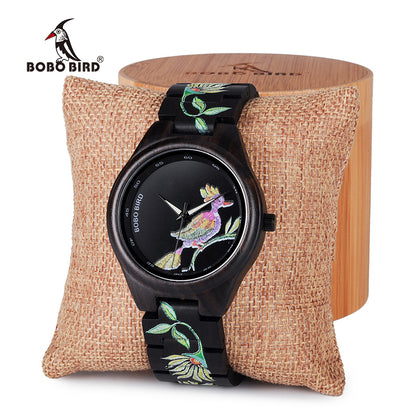 BOBO BIRD Wooden Bamboo Women Watches Embroidery Style