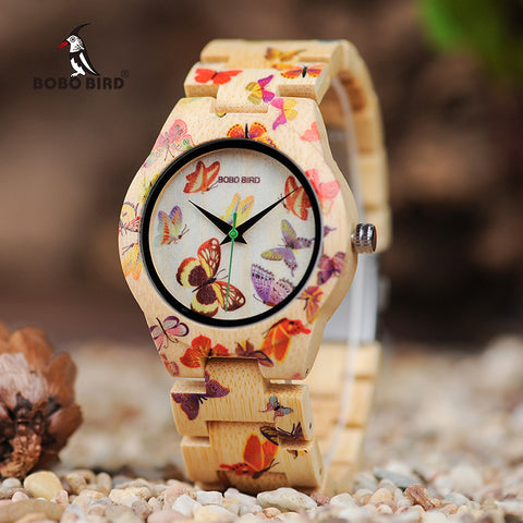 BOBO BIRD O20 Butterfly Print Women Watches