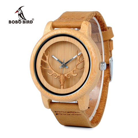 BOBO BIRD Bamboo Watch With Deer Buck Head Design