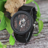 BOBO BIRD Wooden Black Cowhide Leather Strap Watches