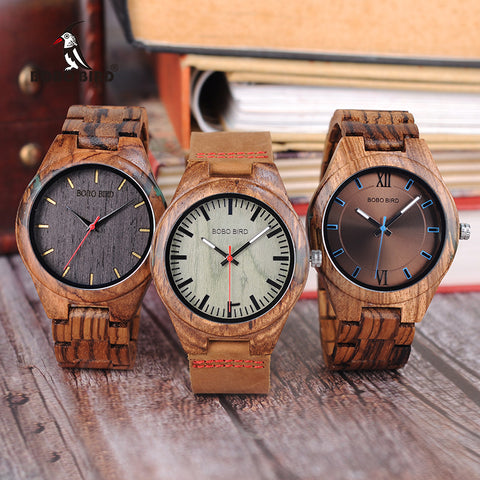 BOBO BIRD Zebra Wooden Watch Men