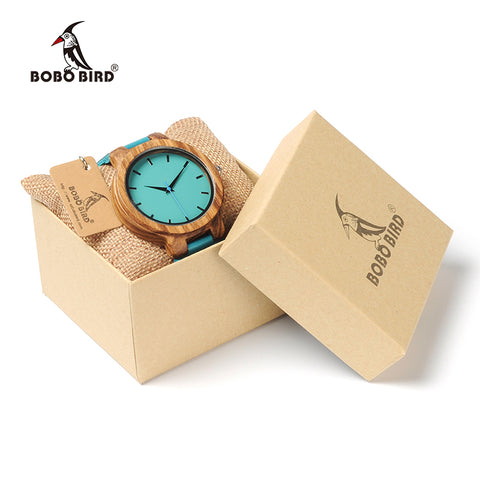 BOBO BIRD Watch Turquoise Blue Leather