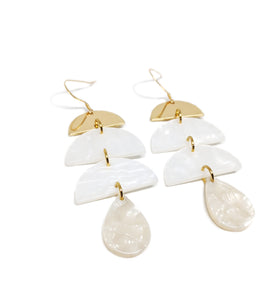 Large White Acetate Drop Earrings