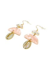 Pink Acetate and Rhinestone Shell Earrings