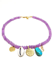 Soft Purple Crystal Charm Necklace