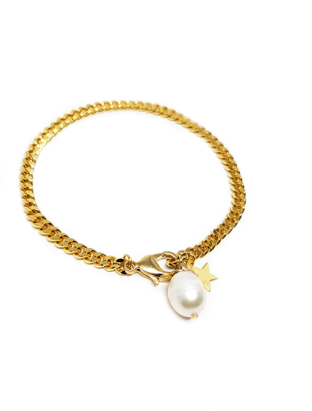 Gold Chain Bracelet with Pearl