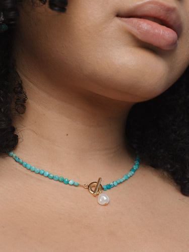 Delicate Turquoise and Pearl Necklace