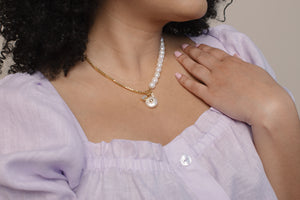 Baroque Pearl and Chain Charm Necklace
