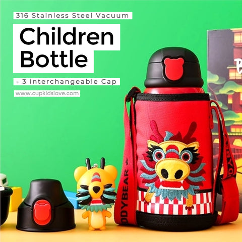 【BEDDY BEAR】Dragon Stainless Steel Vacuum Children Bottle Gift Set (Pre-Order)