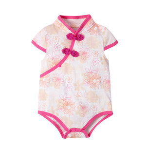 6-18M  Baby Pink Floral Qipao Rompers  (ABRA-001)
