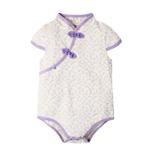 6-18M  Baby Purple Floral Qipao Rompers  (ABRA-003)