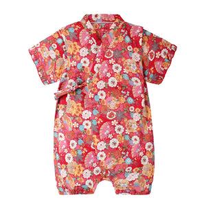 6-18M  Baby Red Floral Yukata Rompers   (ABRB-005)