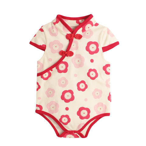 6-18M  Baby Red Floral Qipao Rompers  (ABRA-008)