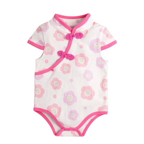 6-18M  Baby Pink Floral Qipao Rompers  (ABRA-009)