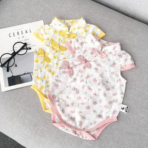 0-3Y  Baby Girls Floral Qipao Rompers (Pink, Yellow Available) (ABRA-010, ABRA-011)