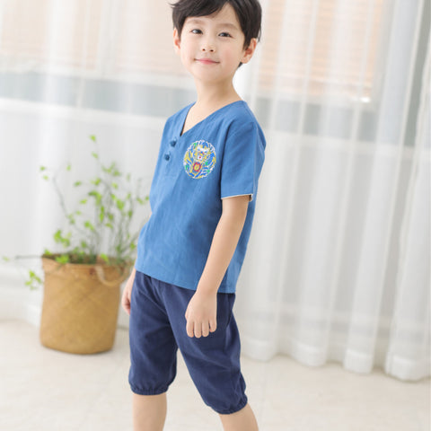 1-6Y  Boys Chinese Vintage Two-Pieces Sets (BBSD-019)