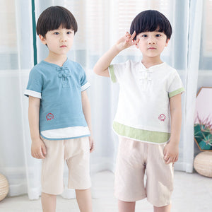 2-7Y Boys Mandarin Collar Vintage 2-pcs Suits (BBSE-004)
