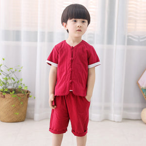 2-7Y  Boys Mandarin Collar Kungfu 2-pcs Sets   (BBSE-007)