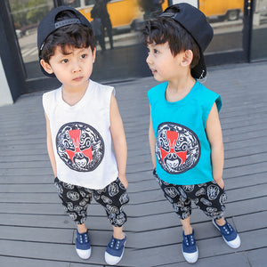 2-7Y  Boys Chinese Vintage Sets  (White, Blue Available ) (BBSF-007, BBSF-008)