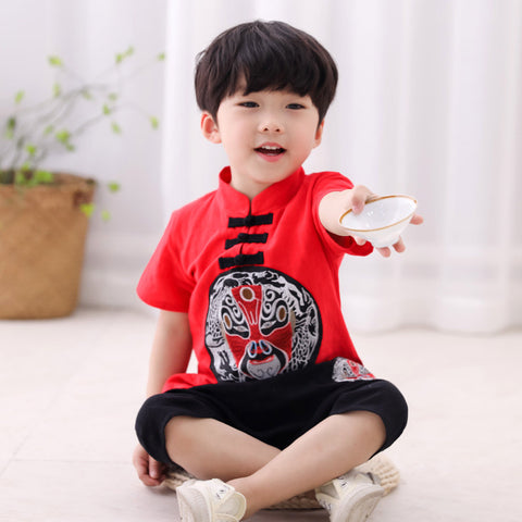 1-7Y  Boys CNY Embroidered 2-pcs Suits (BBSF-015)