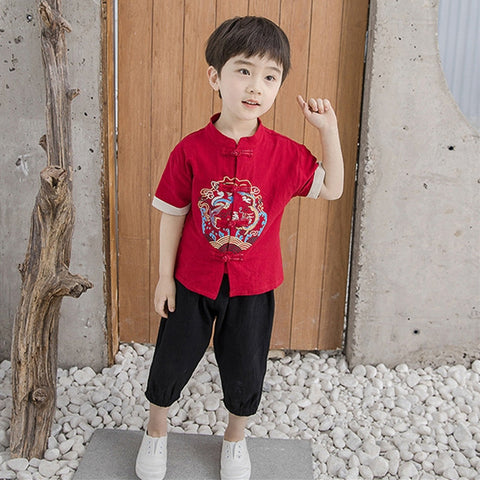 2-7Y  Boys Mandarin Collar Kungfu Sets (BBSG-008)