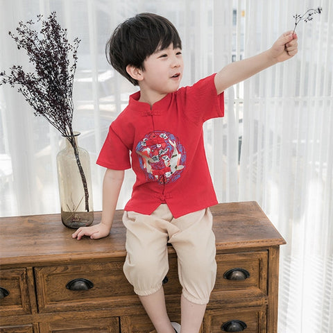 2-8Y  Boys Mandarin Collar Sets (BBSG-009)